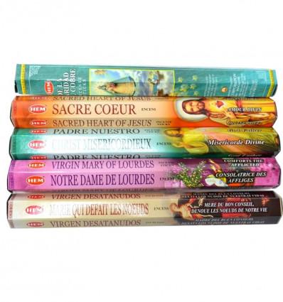 Assortment of incense of catholic prayer. Lot of 100 sticks (5 scents) mark HEM.