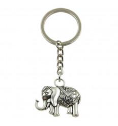 Porte Clef Elephant Bijou de Sac Bohème en Métal Argenté