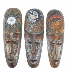 Lot of 3 Masks 50cm in Hand-carved and hand-painted wood