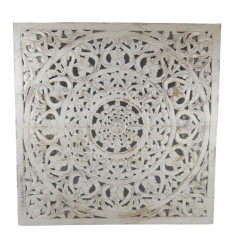 Large Indian wall decoration carved wood bleached finish 80cm