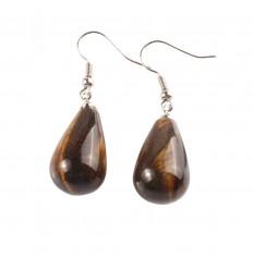 Shape earrings drop tiger eye, hook, plated silver.