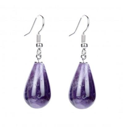 Shape earrings drop amethyst, hook, plated silver.