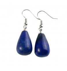 Boucles d'oreilles forme goutte en lapis lazuli, crochet plaqué argent.