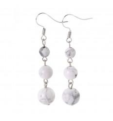 Earrings hanging 3 balls Howlite - free Shipping !!!