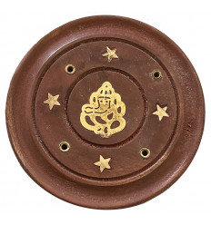 Wooden incense holder for cones and sticks - Buddha motif