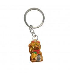 Maneki Neko White Bell Gold Keyring - Gatto fortunato giapponese
