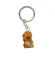 Maneki Neko White Bell Gold Keyring - Japanese Lucky Cat
