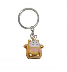 Keyring Maneki Neko Golden with Bell - Gatto fortunato giapponese