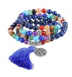 Bracelet multirang 7 chakras, Mala tibetan Lapis Lazuli and fine stones, symbol, tree of life