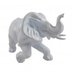 Grande Statue éléphant 33x22cm laquée blanc brillant style moderne