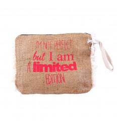 Trousse en jute à message drôle. Pochette de sac à main originale.