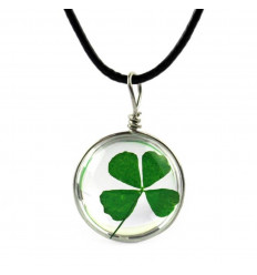 Necklace lucky charm with pendant Clover with 4 leaves. Free Shipping !