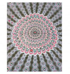 Paréo / sarong / tenture murale 160 x 105cm - Motif Paon bleu lavande, rose, turquoise + sequins argentés