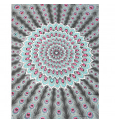 Pareo / sarong / wall hanging 170 x 115cm - Pattern Mandala white and grey + sequins silver