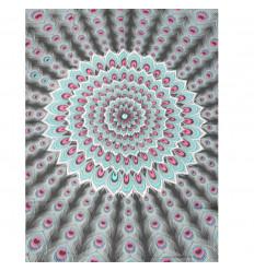 tenture murale 160 x 110cm - Motif Paon Noir, Rose, Gris et Turquoise + sequins argent