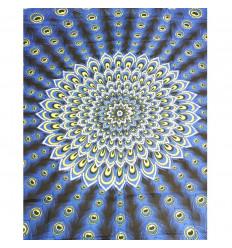 Paréo / sarong / tenture murale 160 x 110cm - Motif Paon Bleu électrique + sequins argentés