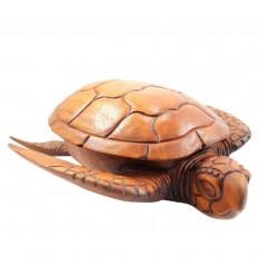 Boîte à bijoux tortue, vide poches, sculpture sur bois artisanale.