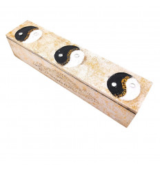 White wooden box for incense, tea or jewelry - Buddha's Eyes Pattern
