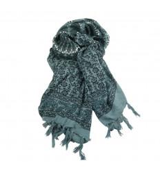 Paréo motif Madala Noir & gris + sequins argentés - 160x110cm