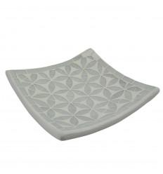 Coupelle en terre cuite décor sable avec mosaique de verre grise 30cm