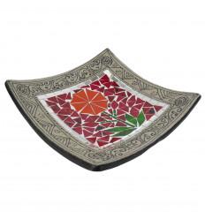 30x30cm Piatto mosaico in terracotta quadrata - Decorazione sabbia - Fiore colorato