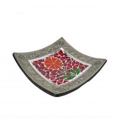 Piatto a mosaico quadrato in terracotta 25x25cm - Decorazione della sabbia - Fiore colorato