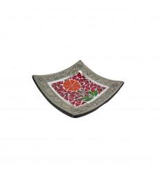 Plat Mosaïque carré en Terre cuite 20x20cm - Décor sable & Fleur colorée