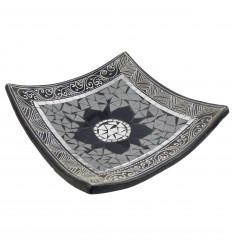 Coupelle carrée en terre cuite 30x30cm - Décor sable & Mosaïque de verre grise en forme de fleur