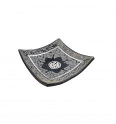 Coupelle carrée en terre cuite 25x25cm - Décor sable & Mosaïque de verre grise en forme de fleur