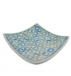 Piatto mosaico quadrato in terracotta 30x30cm - Mosaico turchese - Fiori di vita