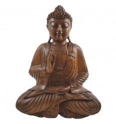 Great Buddha statue Zen solid wood carved hand h40cm