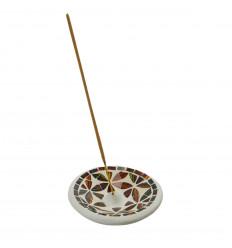 Terracotta incense holder and gold mosaic - black for sticks - 10cm