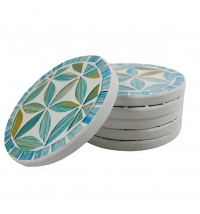 Round coasters pattern Flower of Life in mosaic color Blue - 10cm - Lot of 6