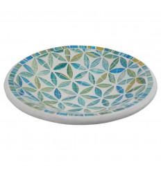 Grand plat ø27cm en Terre cuite et Mosaïque de verre - Coloris Bleu & Blanc
