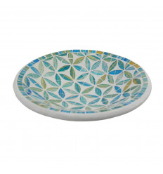 Piatto a mosaico rotondo in terracotta - 23cm - Decorazione blu in vetro Mosaico Motivo Fiore della Vita