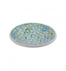 Plat Mosaïque rond en Terre cuite ø20cm - Décor Bleu en Mosaïque de verre motif Fleur de Vie