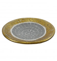 Round gold terracotta cup with 30cm grey glass mosaic