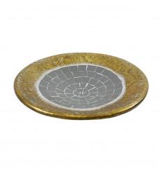 Tazza rotonda in terracotta oro con mosaico in vetro grigio 25cm
