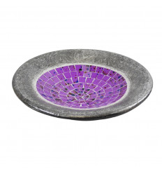 Dish - 25cm in Terracotta and Glass Mosaic - Grey Color - Violet