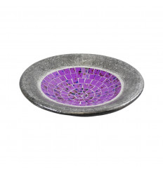 Small dish - 20cm terracotta and glass mosaic - Grey color - Violet