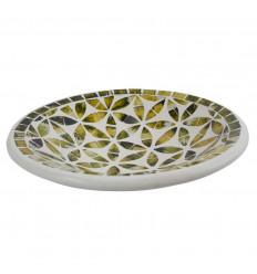 Grande piatto - 27cm terracotta e mosaico di vetro - Colore nero - oro