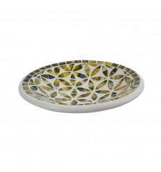 Piatto a mosaico rotondo in terracotta - 23cm - Decorazione nera - Oro in vetro Mosaico Motivo Fiore della Vita