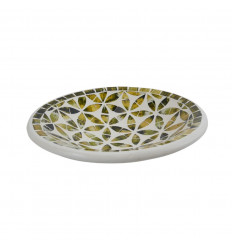Round Mosaic Dish in Terracotta - 23cm - Black Decoration - Gold in Glass Mosaic Pattern Flower of Life