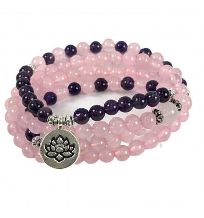 Bracelet Mala 108 beads in Amethyst & rose Quartz natural - Symbol, Lotus flower
