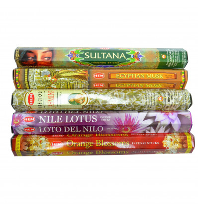 """Assortment of incense """"Sweets of the Orient"""" 5 scents per 100 sticks, brand HEM."""