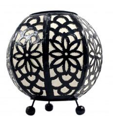 Lampada da comodino marocchina in ferro battuto nero e tessuto bianco ⌀20cm
