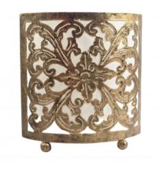 Lampada da comodino orientale - Ferro battuto dorato e tessuto bianco da 18 cm