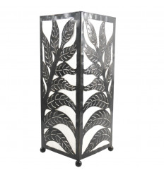 Moroccan wrought iron lamp and white fabric H40cm oriental style