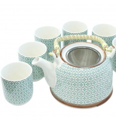 Service at traditional tea - Teapot and 6 cups ceramic