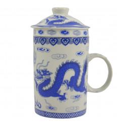 Tazza infusore di tè in porcellana. Motivo drago asiatico - King Blue Colors